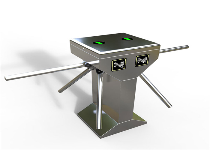 Double Core Upright Anti Tailing Vertical Tripod Turnstile With Railing , 120 Degree Open Angle